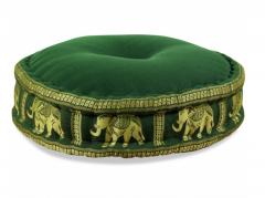 Zafu Kissen, Meditationskissen, Seide, gold / Elefanten